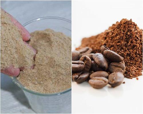 Cám gạo và bột cafe rang xay có tác dụng lấy đi lớp da chết,dưỡng trắng da