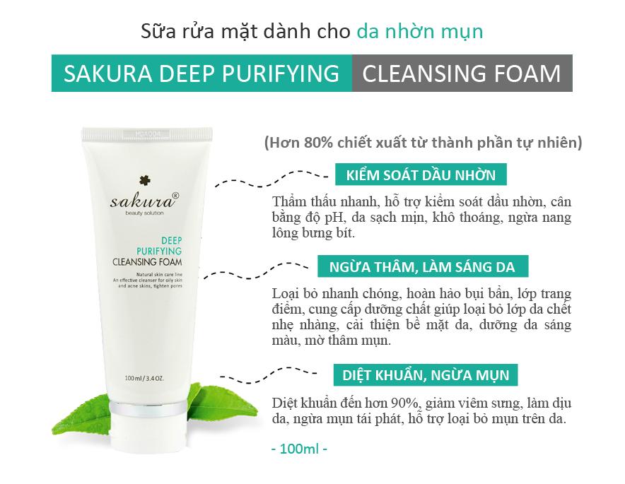 Sữa rửa mặt trị mụn Sakura làm sạch tận sâu lỗ chân lông giúp ngừa mụn hiệu quả