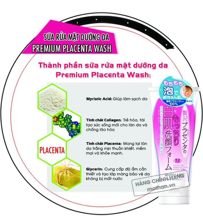 Sữa rửa mặt dưỡng da Premium Placenta Wash White Label có thành phần chiết xuất 100% thiên nhiên
