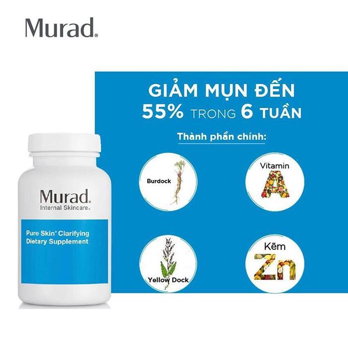 Hiệu quả của viên uống giảm mụn Murad Pure Skin Clarifying Dietary Supplement đã được các bác sĩ cũng như người dùng công nhận chỉ sau 6 tuần sử dụng mụn giảm đến 55%