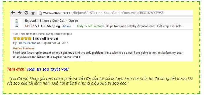 Phản hồi tiêu biểu về sản phẩm gel trị sẹo Scar Rejuvasil trên trang web Amazon.com