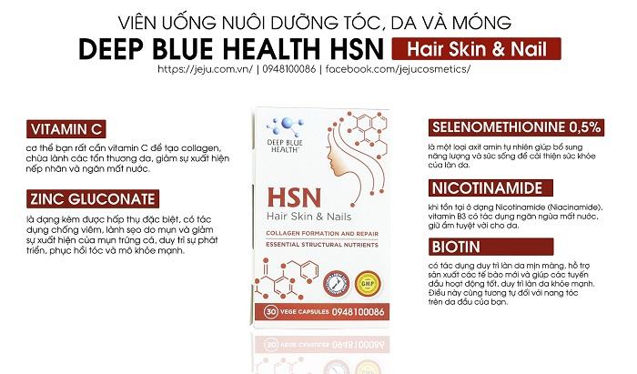 Viên uống trị mụn HSN bổ sung đầy đủ các dưỡng chất cần thiết cho sự phát triển của da, tóc và móng