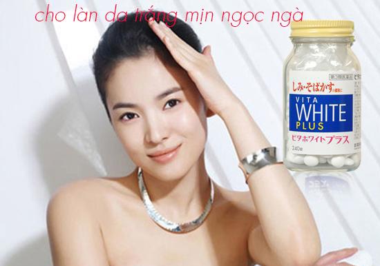 Viên uống trắng da Vita White Plus giúp làm mờ các vết thâm nám, đốm nâu, ngay từ bên trong cơ thể.