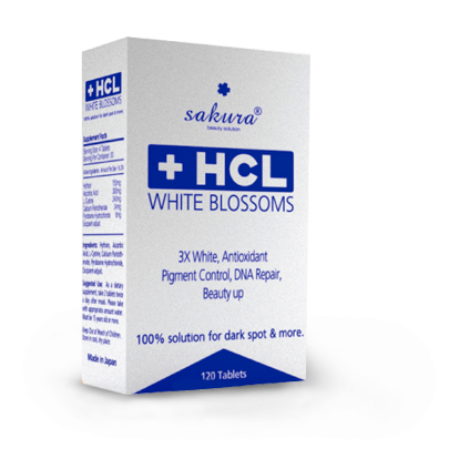 Viên uống hỗ trợ điều trị nám dưỡng trắng da Sakura HCL White Blossom chính hãng của Nhật